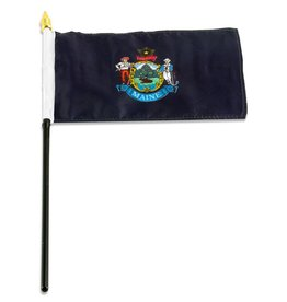 "Popcorn Tree Stick Flag 4""x6"" - Maine"