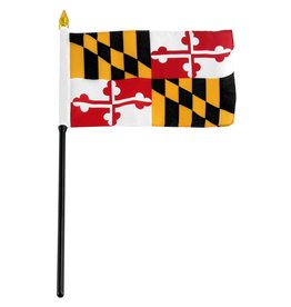 "Popcorn Tree Stick Flag 4""x6"" - Maryland"