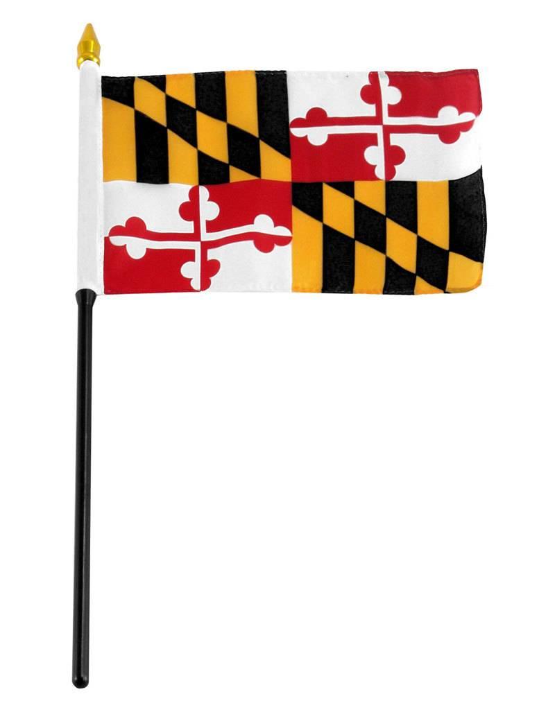 "Popcorn Tree Stick Flag 4""x6"" - Maryland"