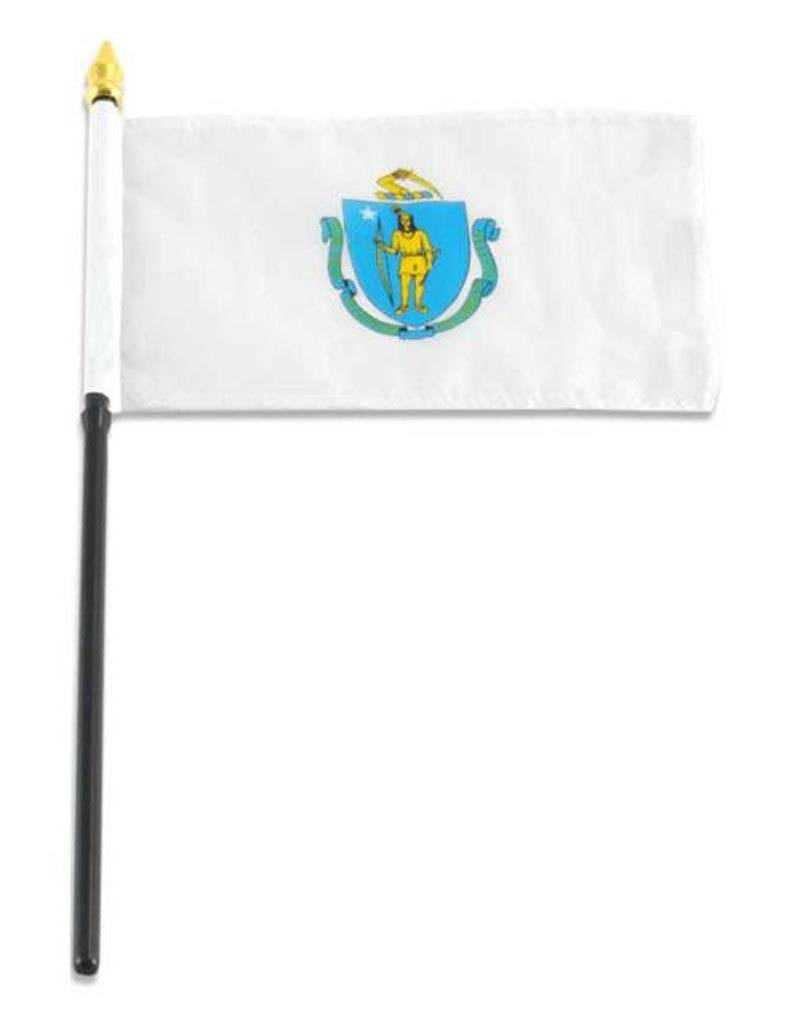 "Popcorn Tree Stick Flag 4""x6"" - Massachusetts"
