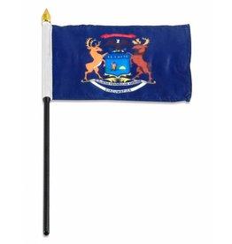 """Popcorn Tree Stick Flag 4""""x6"""" - Michigan"""