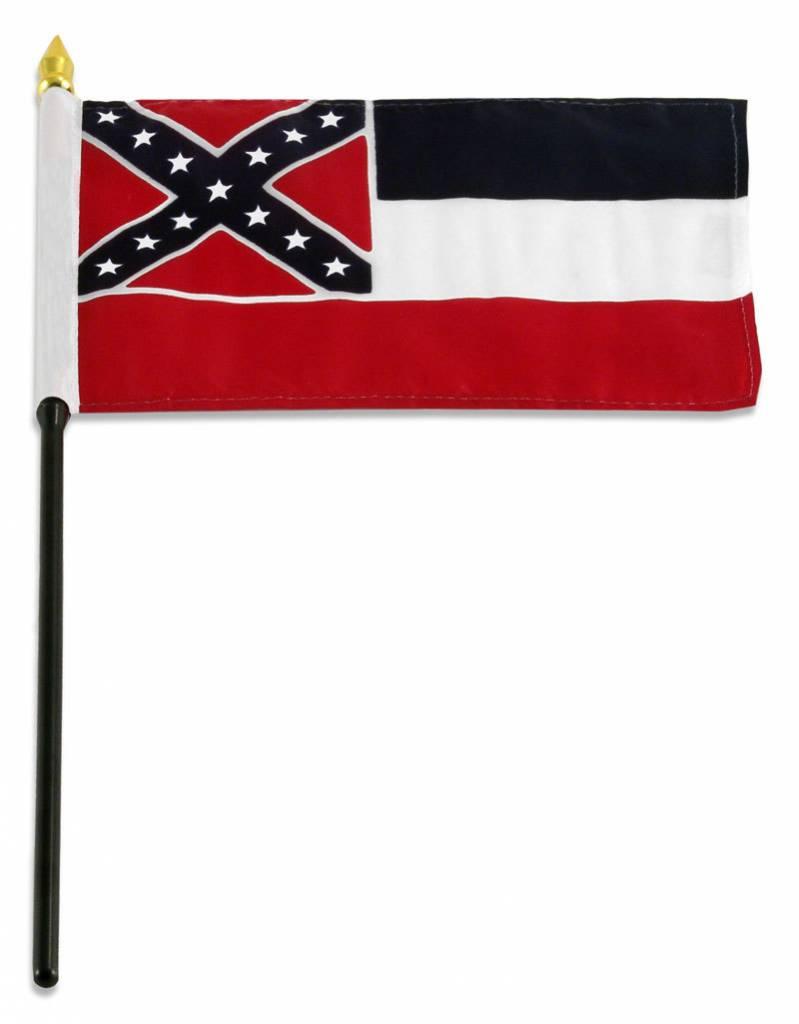 """Popcorn Tree Stick Flag 4""""x6"""" - Mississippi"""