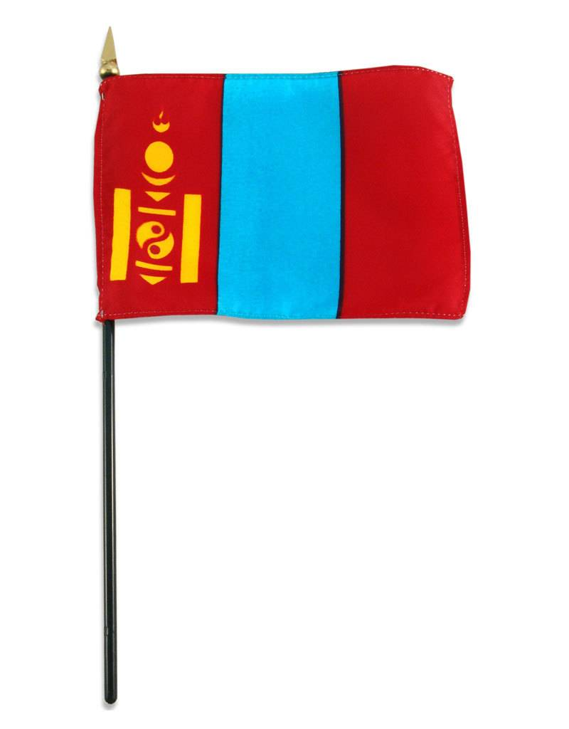 "Popcorn Tree Stick Flag 4""x6"" - Mongolia"