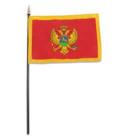 "Popcorn Tree Stick Flag 4""x6"" - Montenegro"