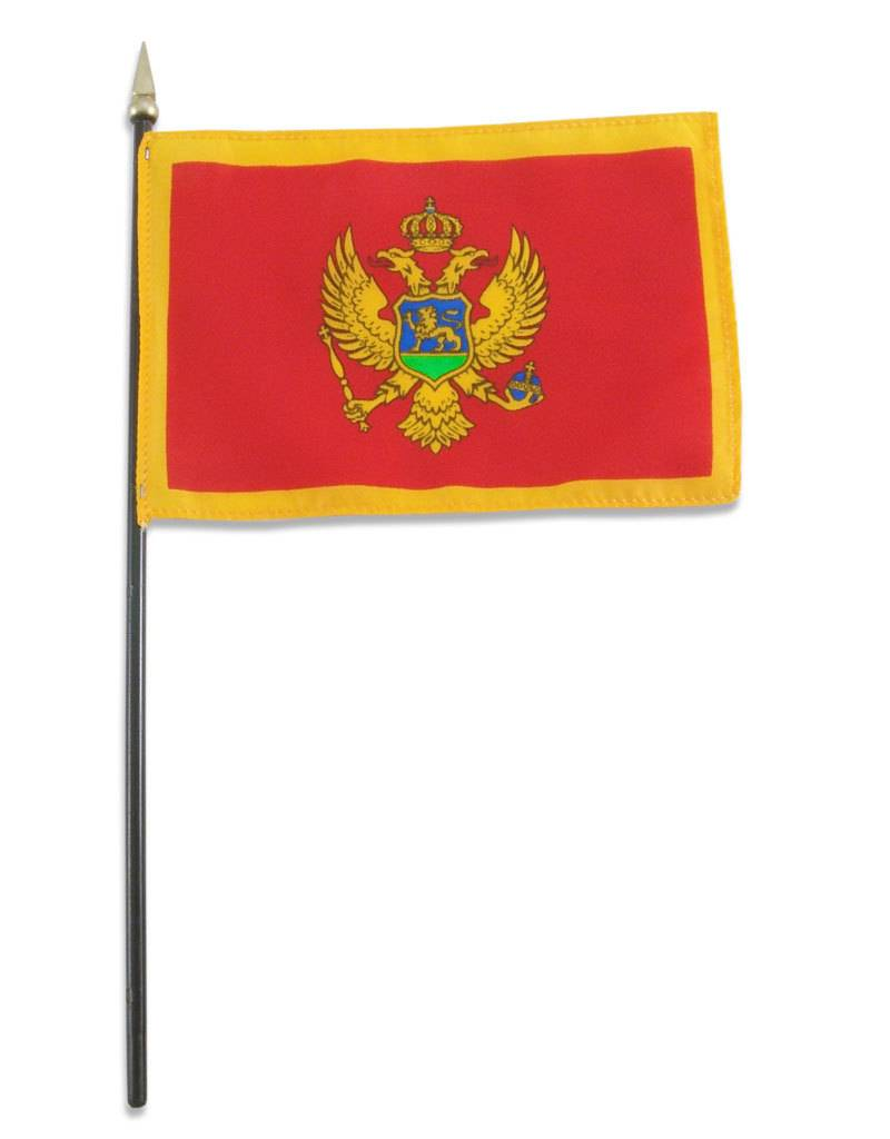 "Popcorn Tree Stick Flag 4""x6"" - Montenegro"