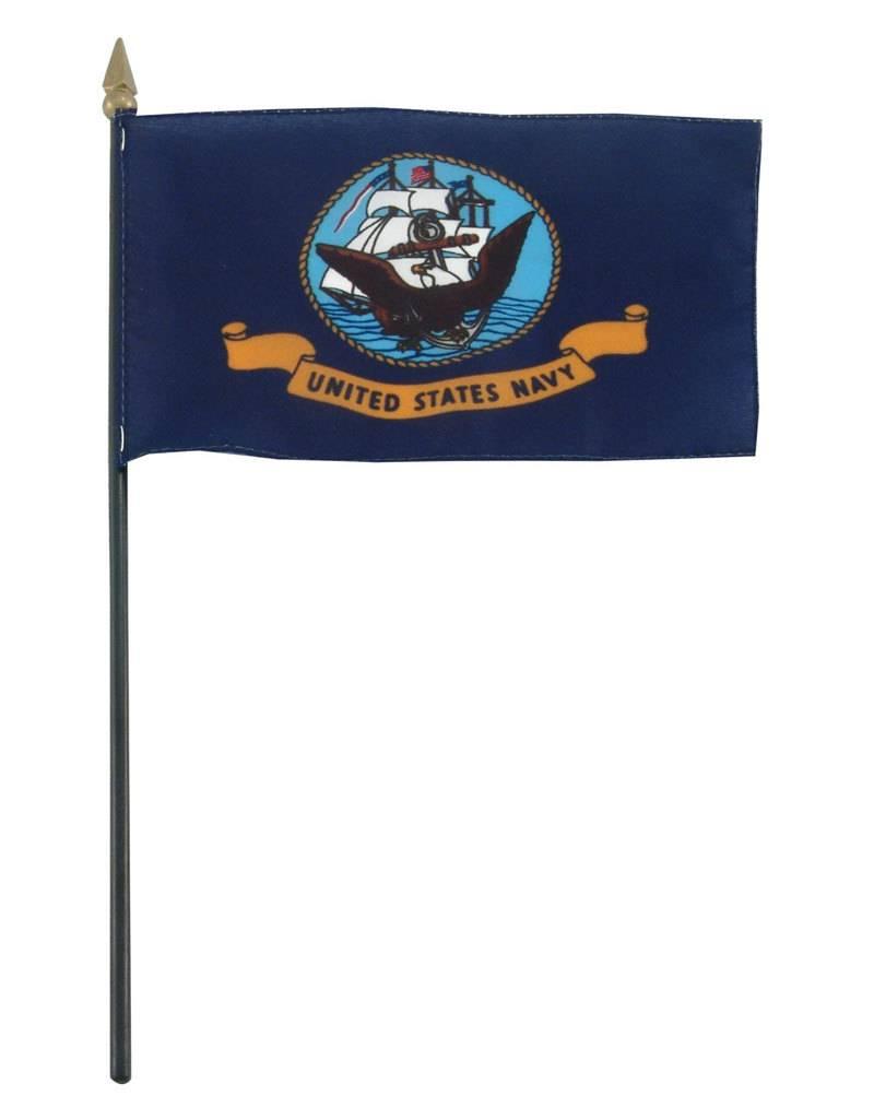 "Popcorn Tree Stick Flag 4""x6"" - Navy"