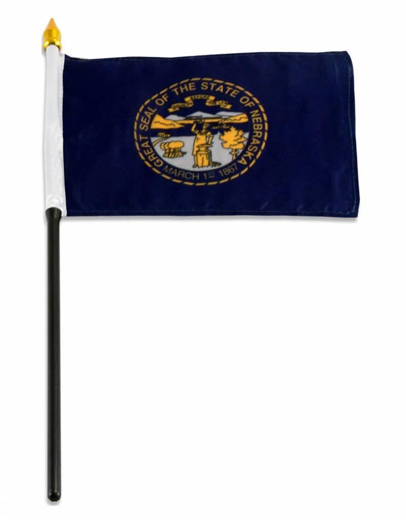 """Popcorn Tree Stick Flag 4""""x6"""" - Nebraska"""