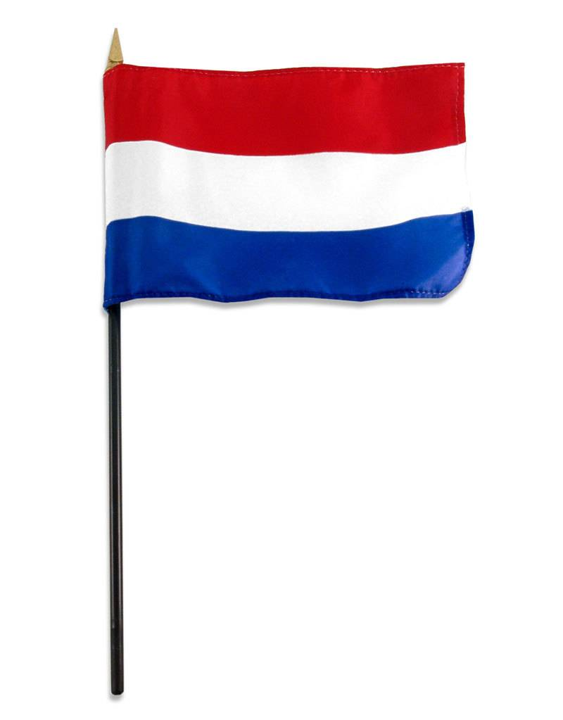 "Popcorn Tree Stick Flag 4""x6"" - Netherlands"