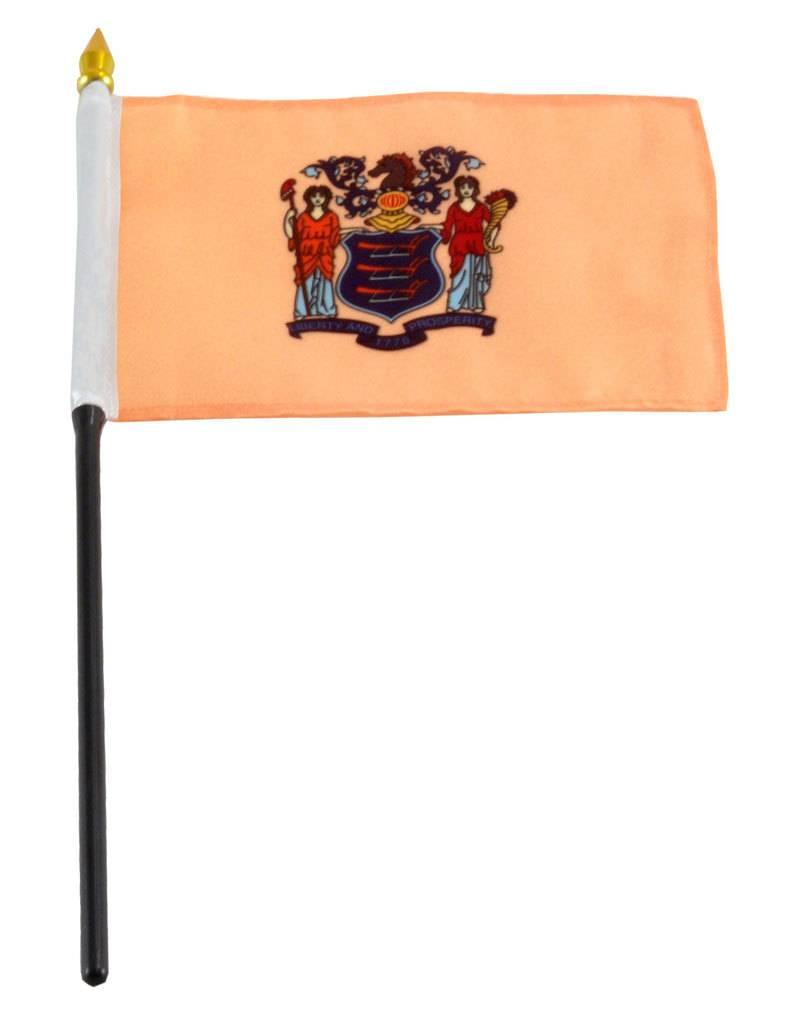 "Popcorn Tree Stick Flag 4""x6"" - New Jersey"