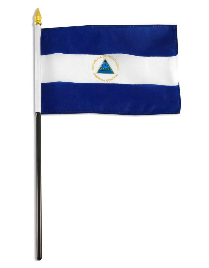 """Popcorn Tree Stick Flag 4""""x6"""" - Nicaragua"""