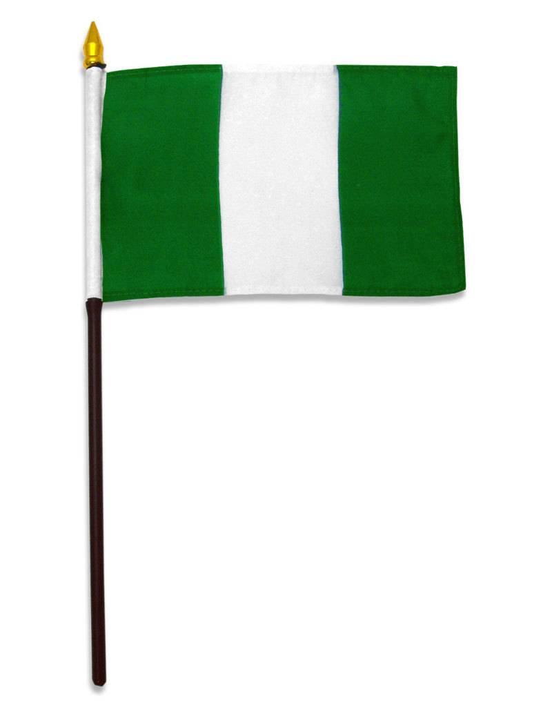 "Popcorn Tree Stick Flag 4""x6"" - Nigeria"
