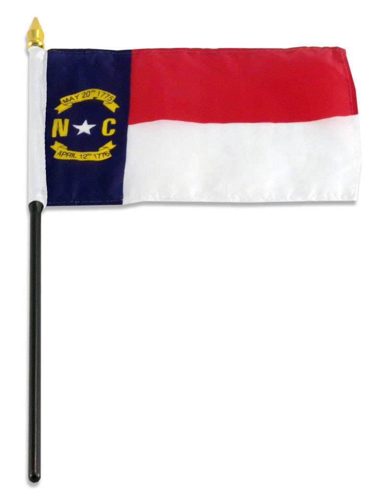 "Popcorn Tree Stick Flag 4""x6"" - North Carolina"