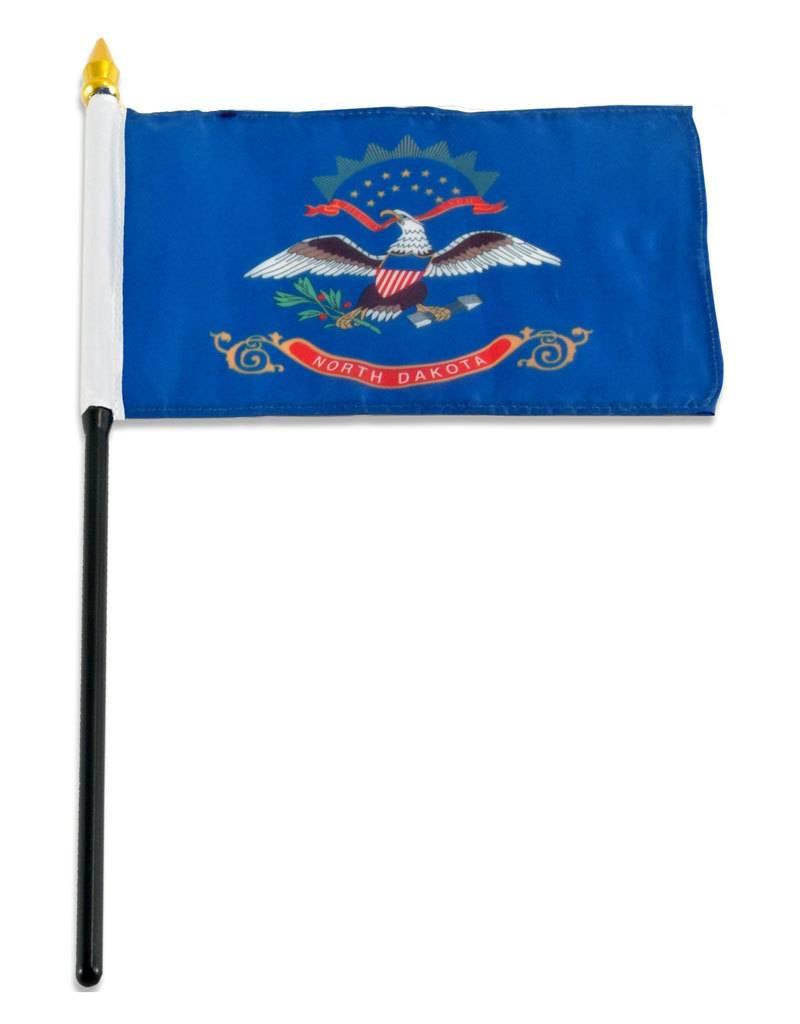 """Popcorn Tree Stick Flag 4""""x6"""" - North Dakota"""