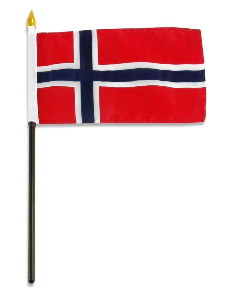 "Popcorn Tree Stick Flag 4""x6"" - Norway"