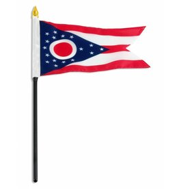 "Popcorn Tree Stick Flag 4""x6"" - Ohio"