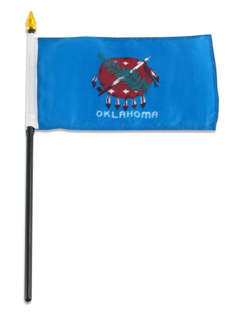 "Popcorn Tree Stick Flag 4""x6"" - Oklahoma"