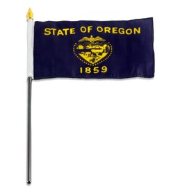 "Popcorn Tree Stick Flag 4""x6"" - Oregon"