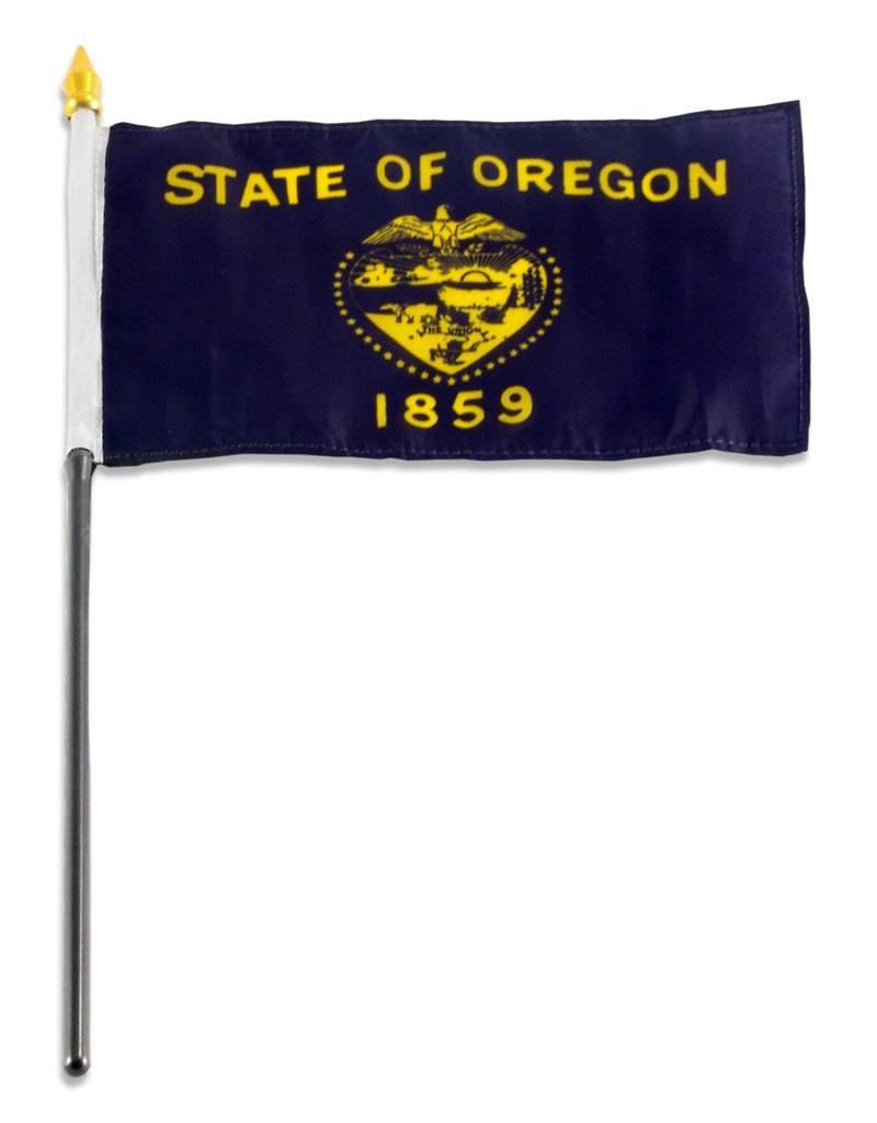 "Popcorn Tree Stick Flag 4""x6"" - Oregon"