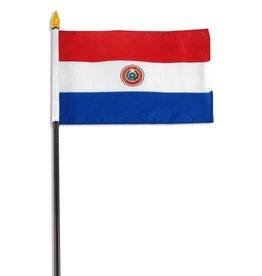 "Popcorn Tree Stick Flag 4""x6"" - Paraguay"