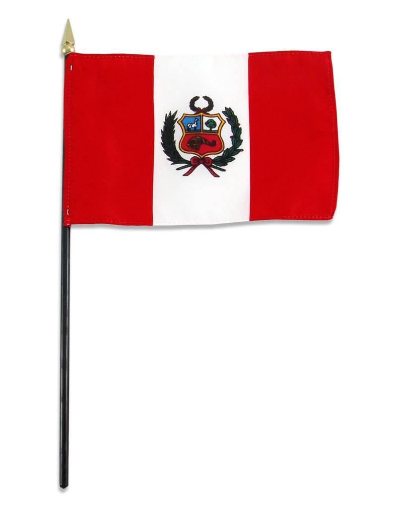 """Popcorn Tree Stick Flag 4""""x6"""" - Peru"""
