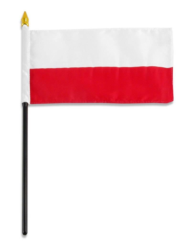 "Popcorn Tree Stick Flag 4""x6"" - Poland"