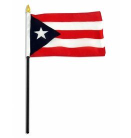 "Popcorn Tree Stick Flag 4""x6"" - Puerto Rico"