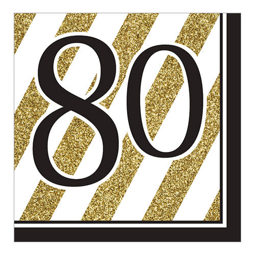"""Creative Converting Black & Gold - """"80"""" Napkins, Lunch"""