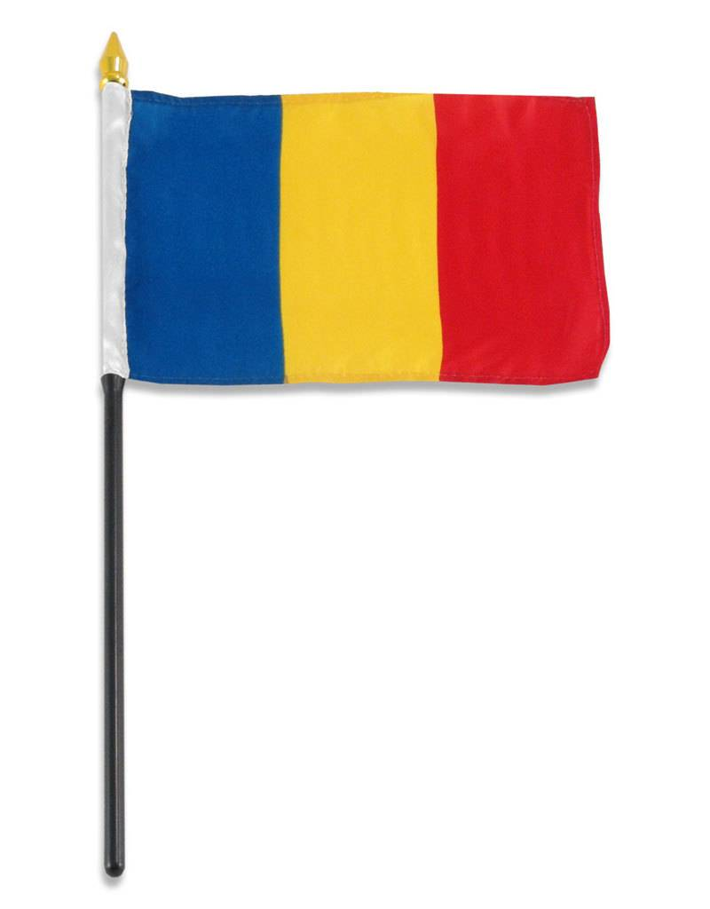 "Popcorn Tree Stick Flag 4""x6"" - Romania"