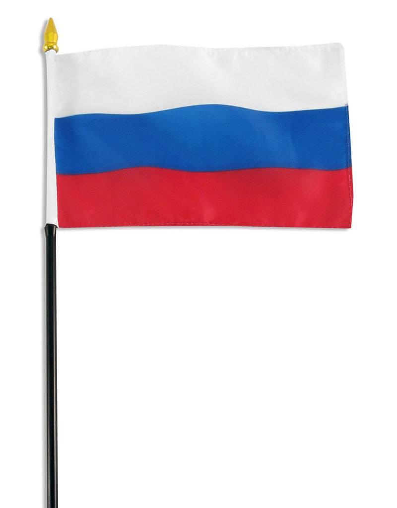 "Popcorn Tree Stick Flag 4""x6"" - Russian Federation"