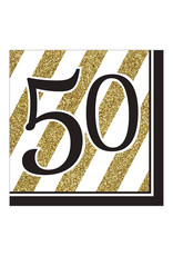 "Creative Converting Black & Gold - ""50"" Napkins, Lunch"