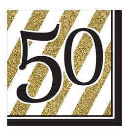 """Creative Converting Black & Gold - """"50"""" Napkins, Lunch"""