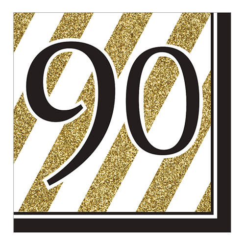 """Creative Converting Black & Gold - """"90"""" Napkins, Lunch"""