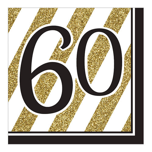"""Creative Converting Black & Gold - """"60"""" Napkins, Lunch"""
