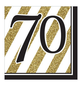 """Creative Converting Black & Gold - """"70"""" Napkins, Lunch"""