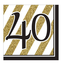 """Creative Converting Black & Gold - """"40"""" Napkins,  Lunch"""