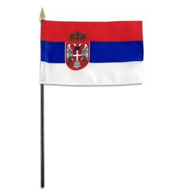 "Popcorn Tree Stick Flag 4""x6"" - Serbia"