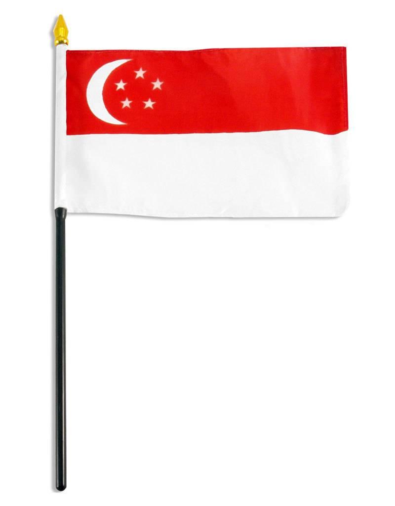 "Popcorn Tree Stick Flag 4""x6"" - Singapore"