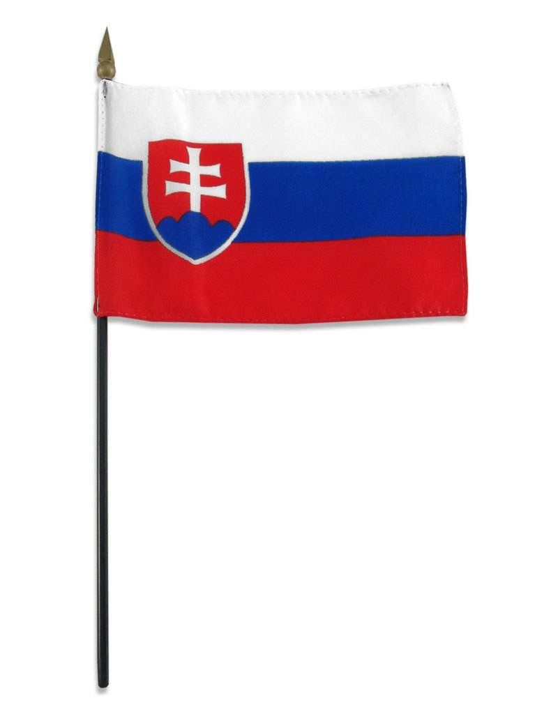 "Popcorn Tree Stick Flag 4""x6"" - Slovakia"