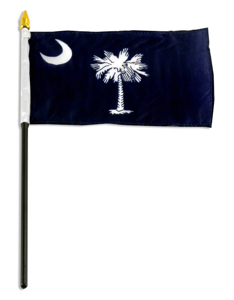 "Popcorn Tree Stick Flag 4""x6"" - South Carolina"