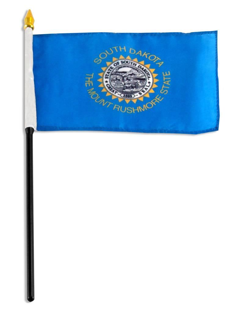 "Popcorn Tree Stick Flag 4""x6"" - South Dakota"