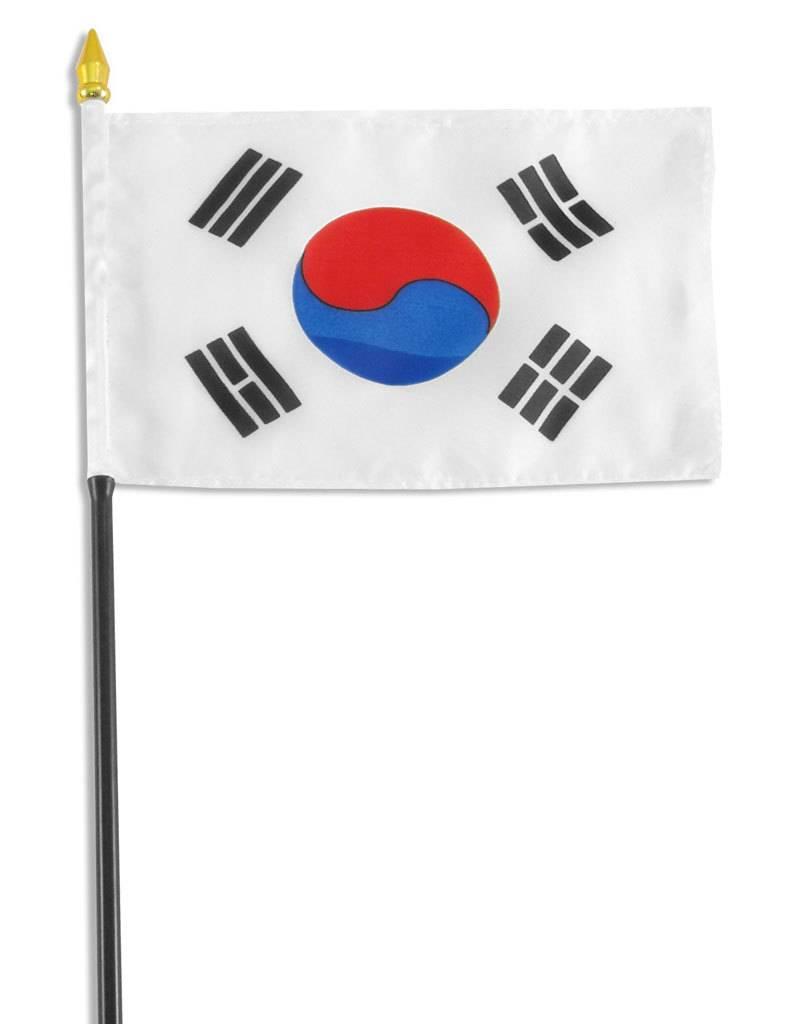 "Popcorn Tree Stick Flag 4""x6"" - South Korea"