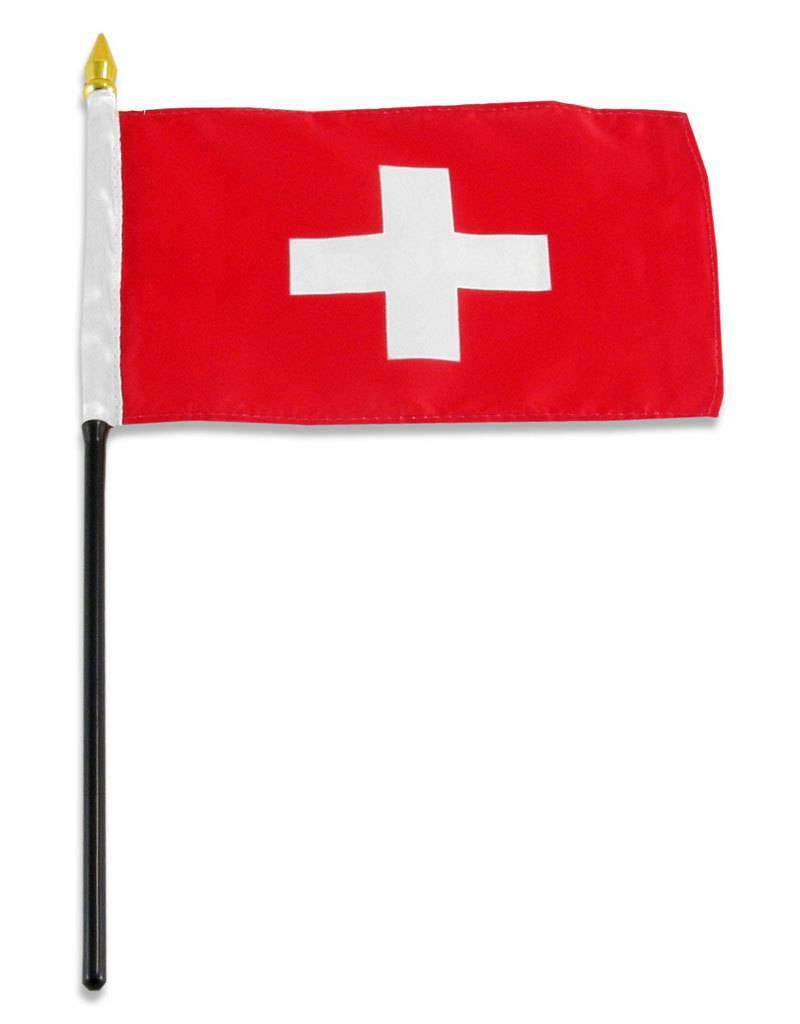 "Popcorn Tree Stick Flag 4""x6"" - Switzerland"