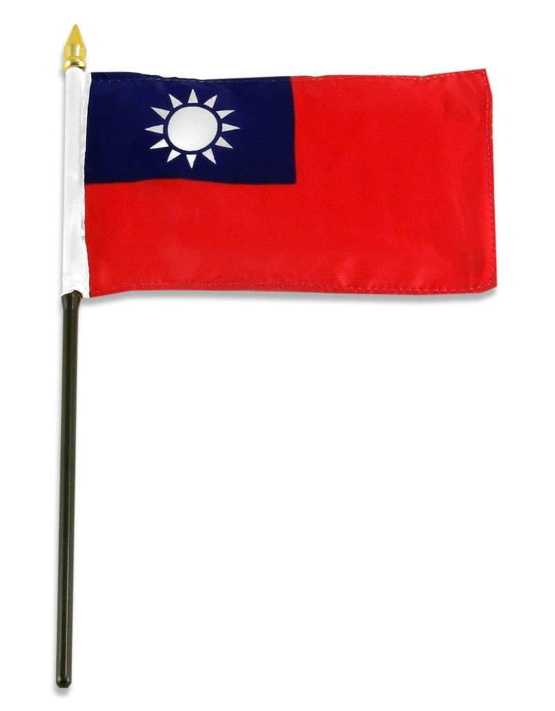 """Popcorn Tree Stick Flag 4""""x6"""" - Taiwan"""