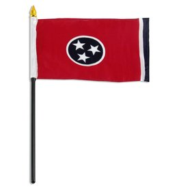 """Popcorn Tree Stick Flag 4""""x6"""" - Tennessee"""