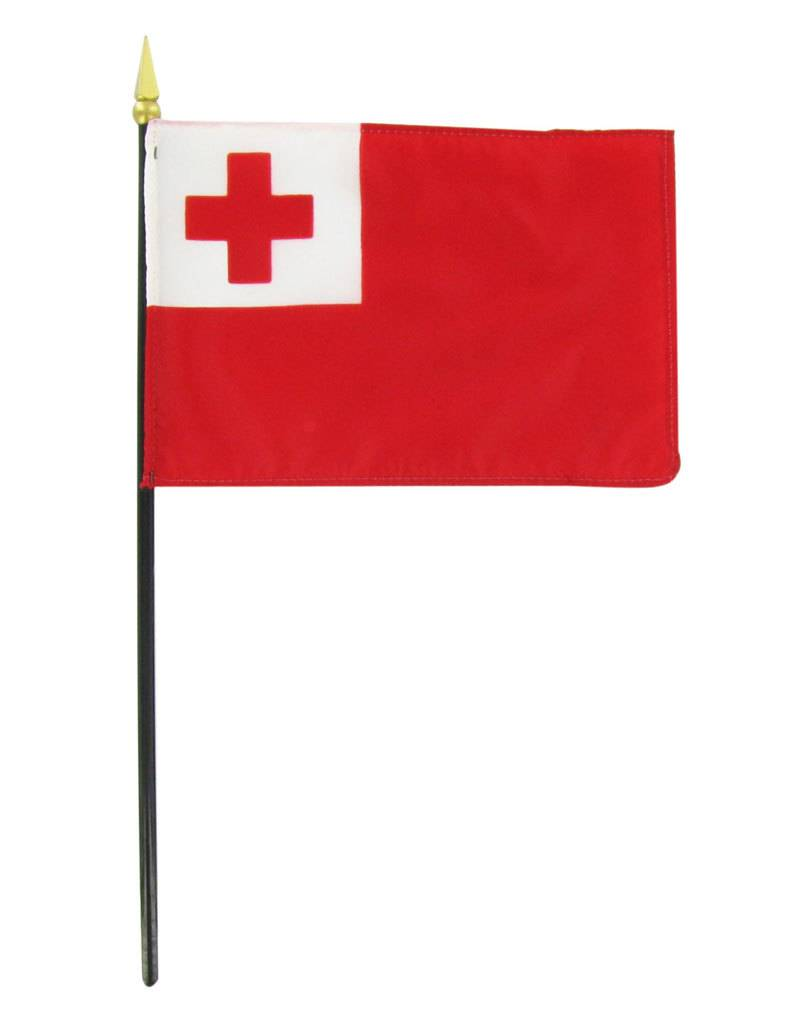 "Popcorn Tree Stick Flag 4""x6"" - Tonga"