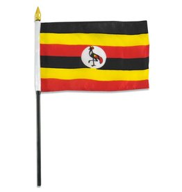 "Popcorn Tree Stick Flag 4""x6"" - Uganda"