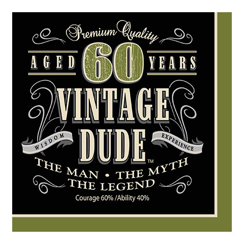 Creative Converting Vintage Dude -  Napkins, Lunch 60th