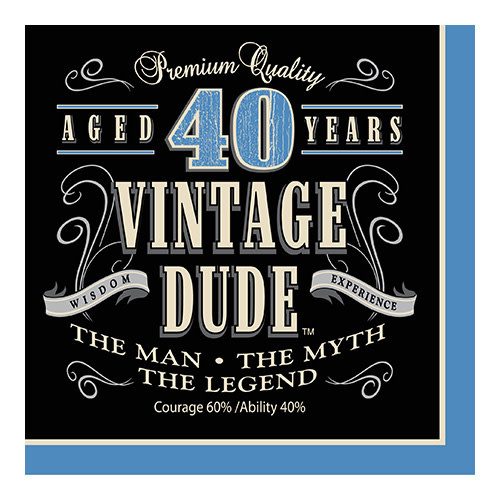 Creative Converting Vintage Dude - Napkins, Lunch 40th