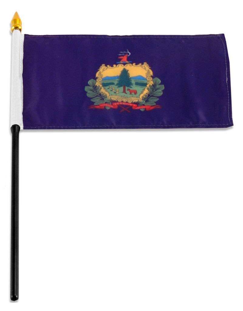"Popcorn Tree Stick Flag 4""x6"" - Vermont"