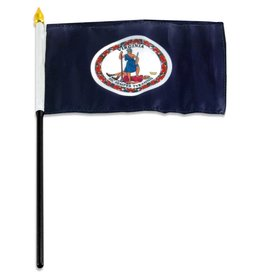 "Popcorn Tree Stick Flag 4""x6"" - Virginia"